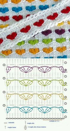 Points Fantaisies Aux Rangs Colorés , Et - Diy Crafts - Best Knitting Crochet Square Patterns, Crochet Motifs, Crochet Diagram, Crochet Stitches Patterns, Crochet Chart, Crochet Hooks, Free Crochet, Blanket Crochet, Crochet Baby