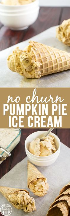 No Churn Pumpkin Pie Ice Cream This creamy pumpkin pie ice cream is simple no churn and only has a few ingredients. It tastes just like a delicious slice of pumpkin pie topped with whipped cream! - Ice Cream Scoop - Ideas of Ice Cream Scoop Ice Cream Desserts, Frozen Desserts, Frozen Treats, Just Desserts, Dessert Recipes, Pumpkin Recipes, Fall Recipes, Sweet Recipes, Thanksgiving Recipes