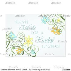 Garden Flowers Bridal Luncheon Invitation Cards