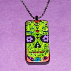 Day Of The Dead Zombie Skull Domino Pendant Necklace