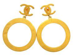 Vintage Chanel earrings CC logo hoop dangle by Chanel | Vintage Five