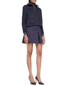 Tory Burch Lane Back-Pleated Jacket, Evangeline Turtleneck Sweater & Klarissa Twill Pleated Skirt