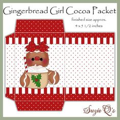 Ginger Girl Cocoa Envelope Digital Printable by SuzieQsCrafts Diy Xmas Gifts, Easy Christmas Crafts, Christmas Tea, Christmas Makes, Christmas Projects, Christmas Decorations, Christmas Graphics, Christmas Clipart, Christmas Printables