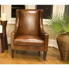 Bristol Top Grain Leather Accent Rustic Chair