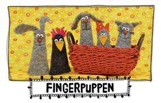 Osterkarte, Hase und Huhn, Hund, Katze, Maus, Fingerpuppen,Nähzimmer, Nähanleitung gratis
