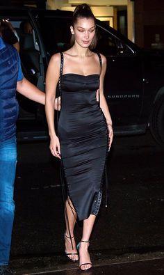 Bella Hadid in a black Dolce & Gabbana midi dress