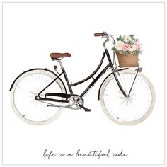 Life is a beautiful ride . . #bycicle #ride #quotes #typography #illustration #illustrationoftheday #watercolor #art #creativity #creative #digital #flowers #retro #vintage #vintagebike #instamood #font #graphic #print #illustrator #inspiration #style #styled
