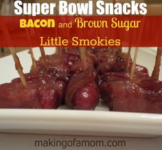 Super Bowl Snacks – Bacon and Brown Sugar Little Smokies recipe. 3 ingredients and very easy! I heard these are amazing. Finger Food Appetizers, Appetizer Recipes, Snack Recipes, Cooking Recipes, Super Bowl, Little Smokies Recipes, Great Recipes, Favorite Recipes, Football Snacks