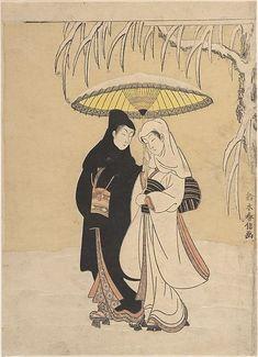 Lovers Walking in the Snow (Crow and Heron), woodblock print - Suzuki Harunobu (1725–1770)