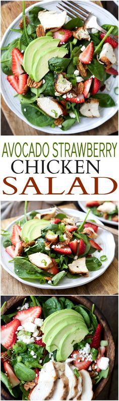 Strawberry Avocado Chicken Salad filled with fresh Berries, Feta, creamy Avocado, and Grilled Chicken. This light salad is topped with a healthy balsamic vinaigrette. The perfect healthy salad option (Recetas Fitness Lights) Quick Dinner Recipes, Easy Healthy Dinners, Easy Healthy Recipes, Healthy Salads For Dinner, Dinner Salads, Easy Salads, Clean Eating, Healthy Eating, Spinach Strawberry Salad