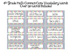 Word Wall for 6th grade Math Common Core Aligned and easy to implement