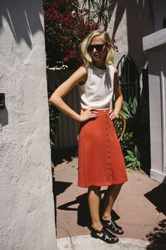 "Bon George | CHARLIE SKIRT | PERFECT RED | $98 | brass buttons, length: 25.5"", 100% Rayon"