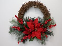Christmas Grapevine Wreath, Red Poinsettia Grapevine Wreath, Holiday Wreath, Front Door Wreath, Red Poinsettias, Red Berries, Pine Needles by BeautifulHomeAccents on Etsy