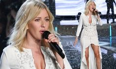 Ellie Goulding looks sexy in a white dress at Victoria's Secret show