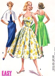 1950s LOVELY Party Dress and Cape Pattern Easy To Sew McCALLS 4111 Flattering Sweetheart Neckline Full or Slim Skirt Styles Bust 34 Vintage Sewing Pattern