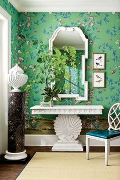 Miles Redd - Ballard DesignA beautiful foyer featuring green Chinoiserie wallpaper and pieces from Miles Redd's collection for Ballard Designs.