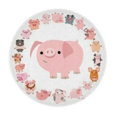 Cute Cartoon Pig Mandala Cutting Board