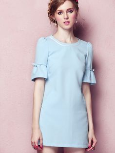 SheIn offers Blue Round Neck Short Sleeve Slim Dress & more to fit your fashionable needs. Modest Dresses, Nice Dresses, Casual Dresses, Short Sleeve Dresses, Vestidos Vintage, Vintage Dresses, Chifon Dress, Latest Street Fashion, Basic Outfits
