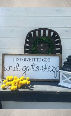 I really would like this sign in my room - I tend to worry about everything.. just need to give it to God... and go to sleep, just like the sign says! Just give it to God and go to sleep bedroom wood sign, farmhouse decor, Farmhouse sign, home decor, fixer upper inspired, shiplap, Rustic decor #ad
