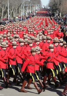 Royal Canadian Mounted Police march past