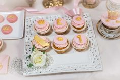 Princess Sofia birthday party cupcakes! See more party planning ideas at CatchMyParty.com!