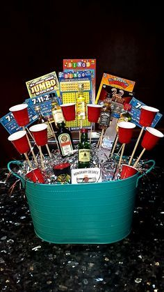 21st birthday gift for a guy #liquor #21 #basket #chipotle #scratchoffs #birthday #prestent #boy #guy