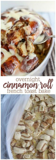 Can't decide between cinnamon rolls and french toast for breakfast? Now you don't have to with my Overnight Cinnamon Roll French Toast Bake! Super-easy to make, using frozen cinnamon rolls, this overnight dish is perfect for company or anytime you want to Breakfast Desayunos, Breakfast Dishes, Breakfast Recipes, Breakfast Ideas, Perfect Breakfast, Birthday Breakfast, Dinner Recipes, Easy Brunch Recipes, Easy To Make Desserts