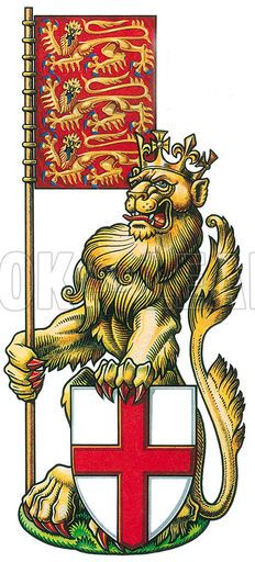 The crowned lion of England.  Professionally re-touched illustration.