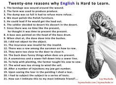 21 reasons English is hard to learn,.