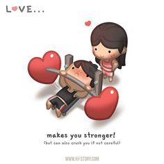 """Quotes About Love For Him : QUOTATION - Image : As the quote says - Description Check out the comic """"HJ-Story :: Love makes you stronger! Hj Story, Love Is Comic, Cute Love Stories, Love Story, True Stories, Cute Love Cartoons, Comics Love, Couple Cartoon, Lovey Dovey"""
