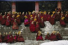Monks of the Yellow Hat sect of Tibetan Buddhism gather for prayers at the Lebrang Monastery, Xiahe.