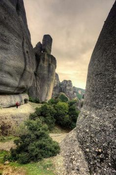 Man in rock formation, Meteora - Greece Travel Honeymoon Backpack Backpacking Vacation Places Around The World, Travel Around The World, Around The Worlds, Places To Travel, Places To See, Beautiful World, Beautiful Places, Cool Pictures Of Nature, Amazing Pictures