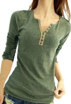 Lady Womens Girl Long Sleeve Bottoming Shirt Crew Neck Slim T-shirt Top Blouse (Green)