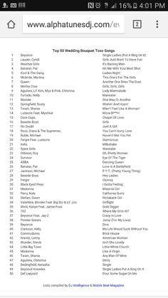 Top 50 bouquet toss songs from alphatunesdj.com