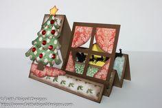 Side Step Card Ideas | Christmas Scene Step Card |Faith Abigail Designs
