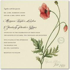 Precious Poppy - Signature White Wedding Invitations in Almond | Petite Alma