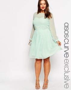 ASOS+CURVE+Exclusive+Midi+Dress+With+Embellished+Trim