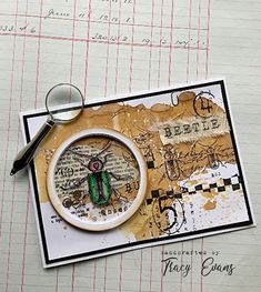"""Good morning, today I have a card using my newly released Border Stamp """"Beetle"""" I am so in love with this stamp and it can be used in . Atc Cards, Paper Cards, Paper Gifts, Cards Diy, Handmade Cards, Flower Stamp, Flower Cards, Art Journal Pages, Junk Journal"""