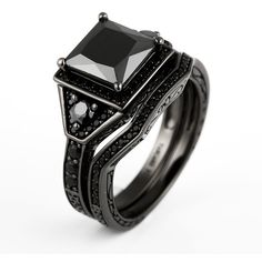 Princess Cut Black Cubic Zirconia Black Engagement Ring/Wedding Bridal... (865 RON) ❤ liked on Polyvore featuring jewelry, rings, bridal engagement rings, cz rings, cubic zirconia engagement rings, cubic zirconia wedding rings and princess cut cubic zirconia rings