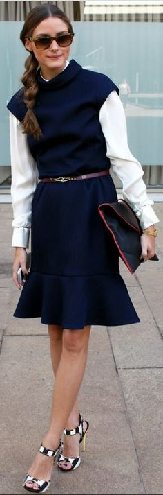 Olivia Palermo: Sunglasses – Ray Ban  Dress – CH by Carolina Herrera  Shirt – Georgio Armani  Shoes – Giuseppe Zanotti