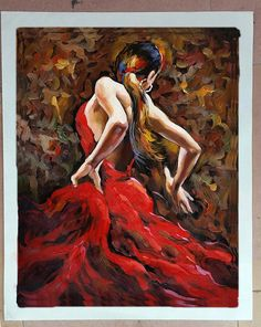 """Click the """"zoom"""" tool on each photo to view the supersized close-up image.  This is a real hand painted oil painting created with a paint brush on canvas. Each stroke presents the unique, vivid and true surface texture of the painting. Title: Flamenco Dancer in Red Type: Hand painted oil painting on canvas with paint brush Size: 20 x 24, 24 x 32 or 32 x 40 Please choose the size option in the upper right corner or contact us directly for other size. ALSO, If you would like me to create a new…"""