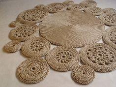 Dziergany dywan na szydełku ze sznurka 230x220 - RNArtDesign - Dywany
