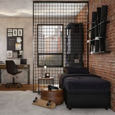 Yellow Baby Room: Awesome Models and Tips! - Home Fashion Trend Industrial Bedroom Design, Industrial Interiors, Industrial House, Decor Industrial, Industrial Vintage, Industrial Home Offices, Home Office Setup, Home Office Design, House Design