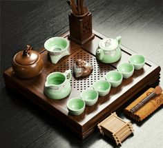 Oriental Chinese Antique porcelain tea set 22 pcs ChickenWing-wood tea tray