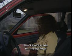Oh my god, so funny! She's used to the cars in Britain! (: