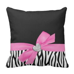 CiCiDi Zebra Pink Bow Diamond Heart Cotton Line Decorative Throw Pillow Covers X Blue Bow, Teal Blue, Throw Pillow Cases, Pillow Covers, Throw Blankets, Cushion Covers, Zebra Print Bedding, Heart Pillow, Designer Throw Pillows