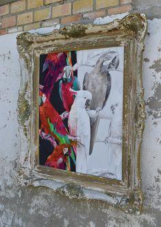 Bestell Nr. 017  Tapete Bild Vlies Papagei Kakadu Rasch Hoch format.  Grösse 800 mm x 700 mm aus Massivem Gipsstuck, mit einer Alten Gold Patina  (der Gipsstuckrahmen hat 4 Risse, die wurden fixiert.)  Einzelstück CHF. 795.00