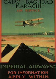 Vintage Aeroplanes Imperial Airways Cairo-Baghdad-Karachi Air Service poster - Approximately 24 x 32 Inches Great Wall Decor Ships in sturdy tube Retro Airline, Retro Ads, Vintage Advertisements, Vintage Airline, Poster Retro, Poster Ads, Old Posters, Movie Posters, Pub Vintage