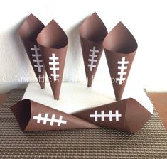make with brown constructino paper?  Football+Snack+Candy+Cones+for+Birthday+by+AnnettesPartyFavors,+$20.00