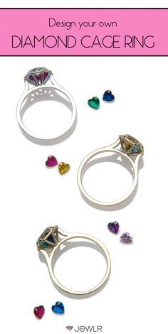 Personalize this must-have ring in your choice of silver, white gold, rose gold or yellow gold and fill the 3D diamond cage with sparkling heart-shaped birthstones to represent your loved ones. Perfect as a promise ring, mothers ring, BFF ring or as an everyday accessory. Free shipping, free returns, free resizing and a free bonus gift on all Jewlr orders!
